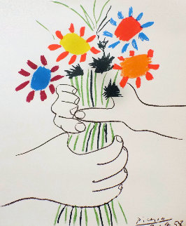 Hand With Bouquet (Bouquet of Peace) Limited Edition Print -  Picasso Estate Signed Editions