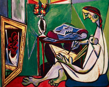 Woman Drawing Before a Mirror Limited Edition Print by  Picasso Estate Signed Editions