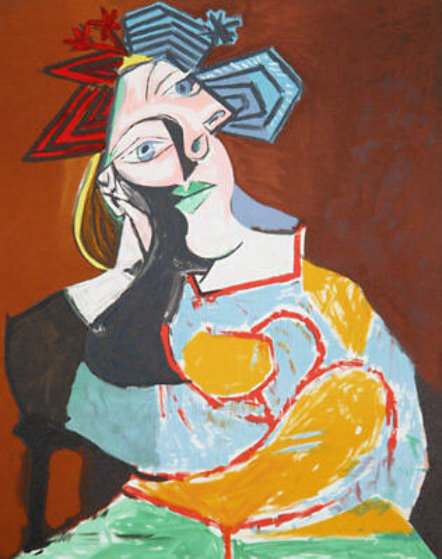 Femme Accoudee, Au Drapeau Bleu Et Rouge Limited Edition Print by  Picasso Estate Signed Editions