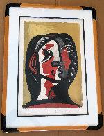 Tete De Femme En Gris Et Rouge Sur Fond Ochre Limited Edition Print by  Picasso Estate Signed Editions - 1