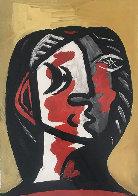 Tete De Femme En Gris Et Rouge Sur Fond Ochre Limited Edition Print by  Picasso Estate Signed Editions - 0