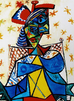 Seated Woman With Red And Blue Hat Limited Edition Print by  Picasso Estate Signed Editions