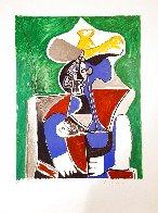Buste Au Chapeay Jaune Et Gris Sur Fond, Vert 1979 Limited Edition Print by  Picasso Estate Signed Editions - 1