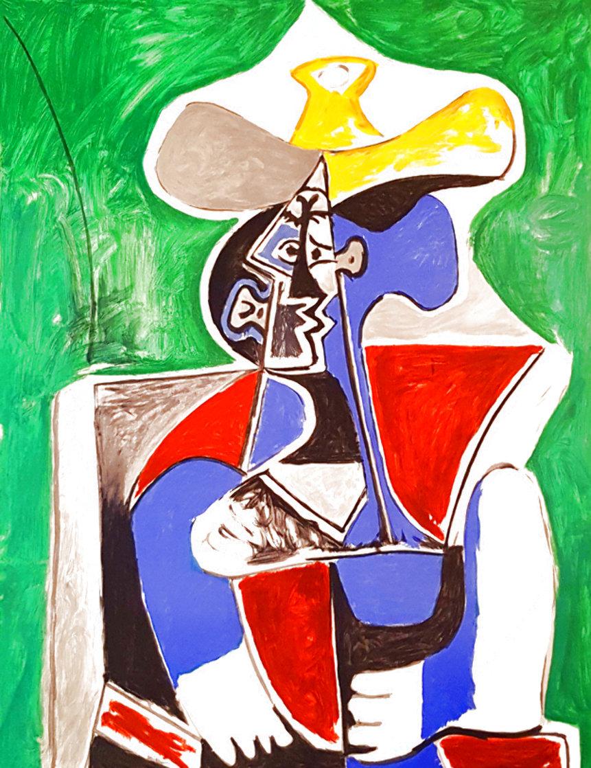 Buste Au Chapeay Jaune Et Gris Sur Fond, Vert 1979 Limited Edition Print by  Picasso Estate Signed Editions