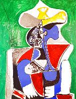 Buste Au Chapeay Jaune Et Gris Sur Fond, Vert 1979 Limited Edition Print by  Picasso Estate Signed Editions - 0