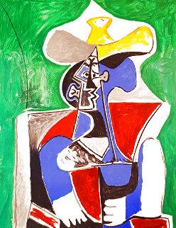 Buste Au Chapeay Jaune Et Gris Sur Fond, Vert 1979 Limited Edition Print -  Picasso Estate Signed Editions