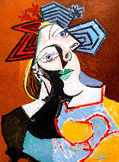 Femme Accoudee, Au Drapeau Blue Et Rouge 1979 Limited Edition Print -  Picasso Estate Signed Editions