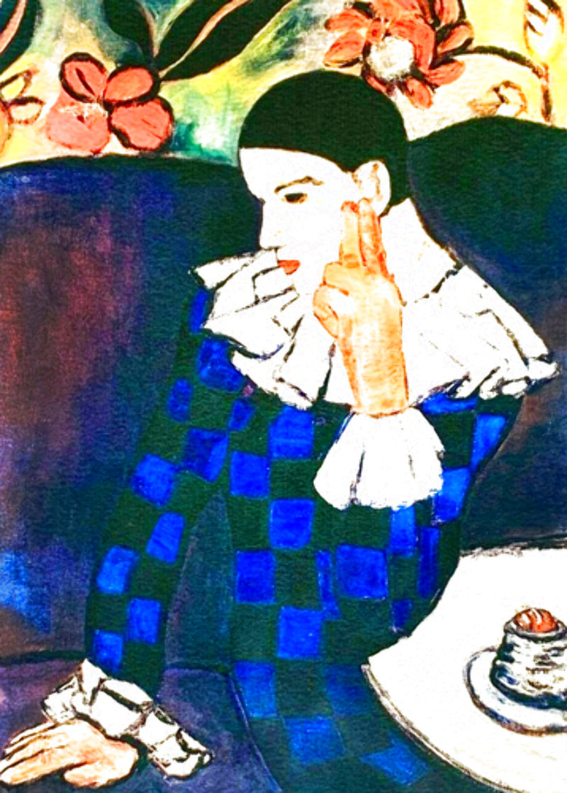 Harlequin Leaning on His Elbow Limited Edition Print by  Picasso Estate Signed Editions