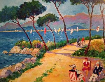 Dimanche Aux Iles De Lerins 2001 24x21 Original Painting - Jean Claude Picot