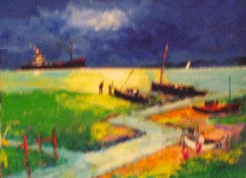 Cargo Au Clair De Lune 2012 21x24 Original Painting - Jean Claude Picot