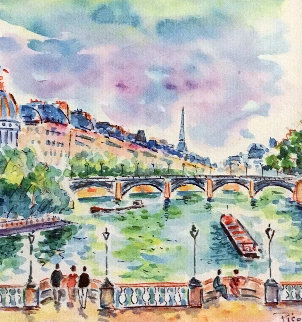 LA Institut Vu Du Pont Neuf Paris Watercolor 2007 19x19 Watercolor by Jean Claude Picot