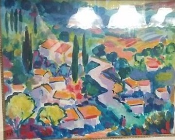 La Route En Provence Watercolor 2000 15x13 Works on Paper (not prints) by Jean Claude Picot