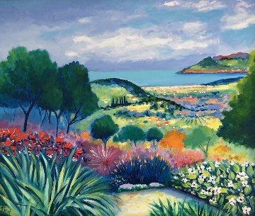 L Jardin Au Ciel Gris 1995 31x35 Original Painting - Jean Claude Picot