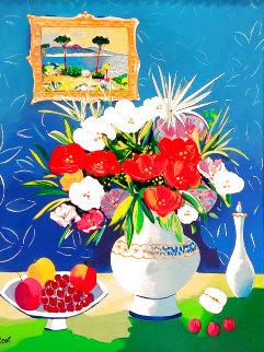 La Vase De Delft 2000 Embellished Limited Edition Print - Jean Claude Picot