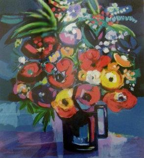 Fleurs Au Fond Bleu 1995 Limited Edition Print - Jean Claude Picot