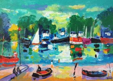 Maree Basse 2012 24x30 Original Painting - Jean Claude Picot