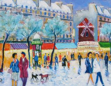 Moulin Rouge Sous Le Neige 2002 20x24 Original Painting by Jean Claude Picot