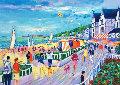Le Promenade a Trouville (Deauville) 1997 26x31 Original Painting - Jean Claude Picot