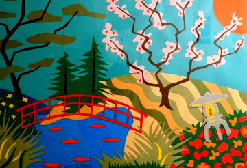 Cherry Blossom Bridge 26x36 Works on Paper (not prints) - Pierre Matisse