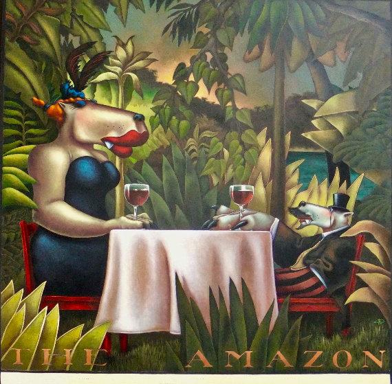 Amazon Oil on Canvas 60x60 Super Huge Original Painting by Markus Pierson
