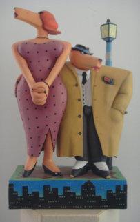 Gum Shoe and the Dame Wood Sculpture 1989 24 in Sculpture - Markus Pierson