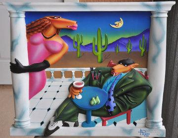Frenchy Does the Desert Bas Relief Sculpture Cast Plaster 1991 23x27 Sculpture - Markus Pierson
