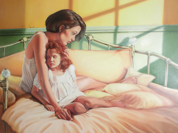 Mother And Daughter 1992 35x43 Original Painting by Patrick Pierson