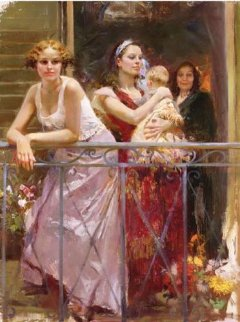 At the Balcony Embellished Limited Edition Print -  Pino