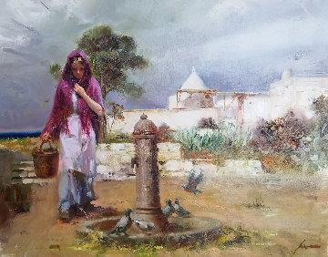Fountain 35x45 Original Painting by  Pino