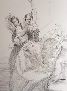Dancing in Barcelona Drawing 16x20 with Matching Giclee Drawing -  Pino