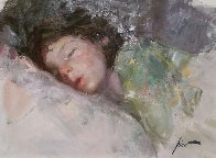 Sleeping Child 26x30 Original Painting by  Pino - 0