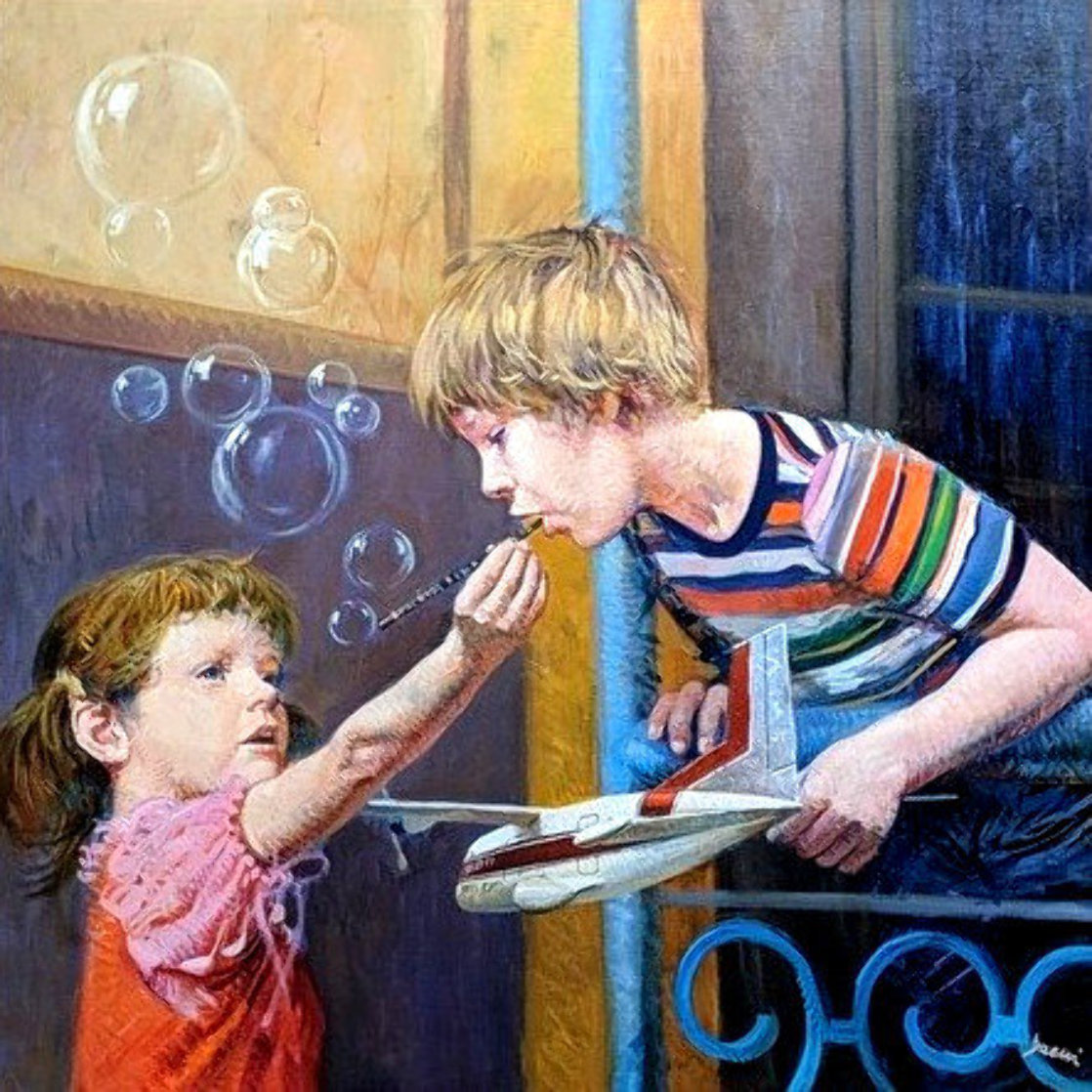 Blowing Bubbles 2011 35x35 Original Painting by  Pino