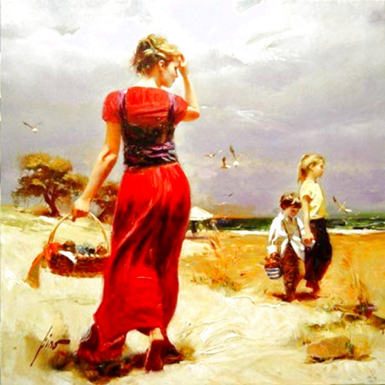 Seaside Gathering Limited Edition Print by  Pino