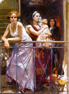 Waiting on the Balcony AP 2002 Embellished Limited Edition Print -  Pino