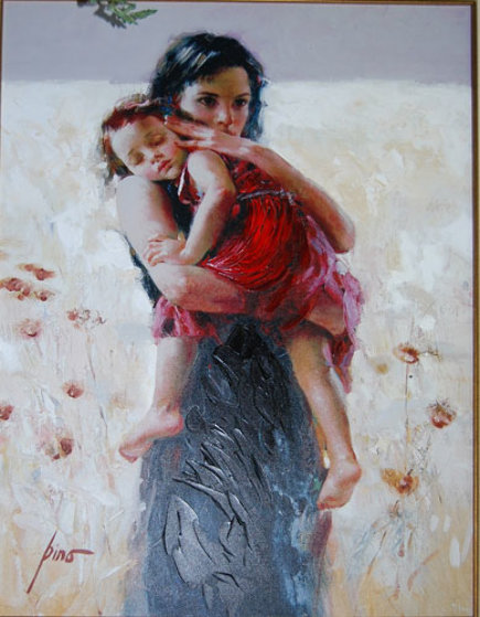 Maternal Instincts 2002 Embellished Limited Edition Print by  Pino