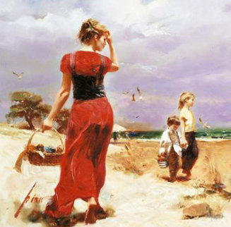 Seaside Gathering  AP Embellished Limited Edition Print by  Pino