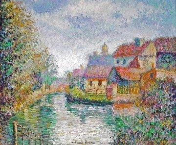 Village Au Bord, De La Rivierie 1995 28x32 Original Painting - H. Claude Pissarro