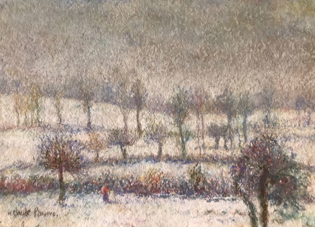 l'Hiver a Athis Pastel 1980 10x15 Works on Paper (not prints) by H. Claude Pissarro