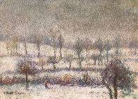 l'Hiver a Athis Pastel 1980 10x15 Works on Paper (not prints) by H. Claude Pissarro - 0