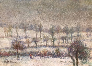 l'Hiver a Athis Pastel 1980 10x15 Works on Paper (not prints) - H. Claude Pissarro