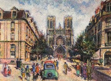 La Rue Libergier a Reims 1982 Pastel 15x20 Works on Paper (not prints) by H. Claude Pissarro
