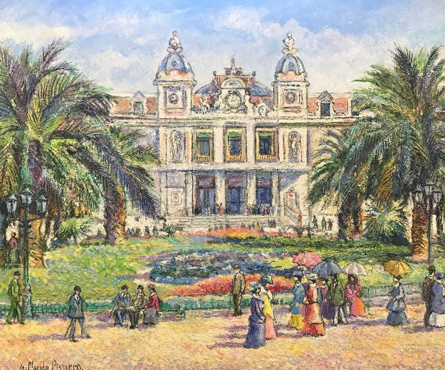 Monaco, Le Casino 2011 34x48 Original Painting by H. Claude Pissarro