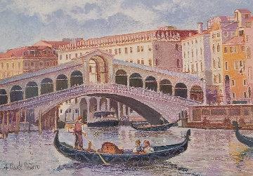Venise, La Gondole De Lodovico 2013 33x38 Original Painting - H. Claude Pissarro