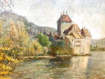 Le Chateau De Chillon Montreal Pastel 30x25 Works on Paper (not prints) - H. Claude Pissarro