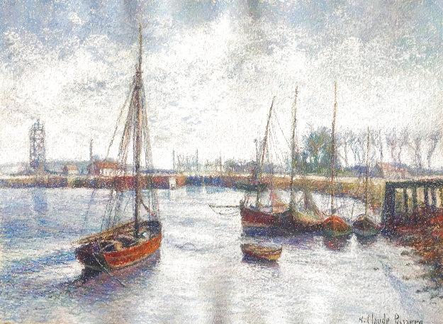 L'entree Ju Canal Au Ouistreham 29x34 Works on Paper (not prints) by H. Claude Pissarro