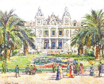 Monaco Le Casino 2011 21x26 Original Painting - H. Claude Pissarro