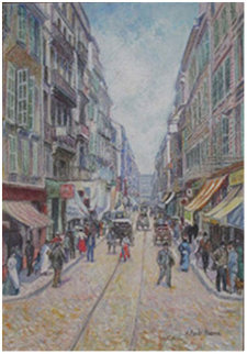 La Rue St. Ferreole a Marseille 2001 15x20 Original Painting by H. Claude Pissarro