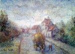 Le Pe're Bourrier Rentrant Son Foin a Lainville 1987 Original Painting - H. Claude Pissarro