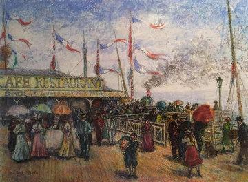 Le Societe Por Le Mer 35x25 Pastel Original Painting - H. Claude Pissarro