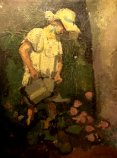 Girl in Le Jardin 1800 10x13 Original Painting - Camille Pissarro